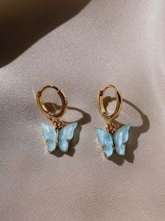 Sky Butterfly Earrings - Gold-plated butterfly with the option of a . - Sky Butterfly Earrings – Gold-plated butterfly with the option of a gold-plated or gold-plated ho - Ear Jewelry, Cute Jewelry, Jewelery, Jewelry Accessories, Jewelry Necklaces, Gold Jewellery, Silver Jewelry, Diamond Jewelry, Jewelry Making