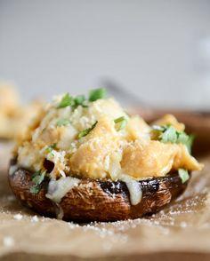 Mac + Cheese Stuffed Brown Sugar Balsamic Portobellos I howsweetetas.com