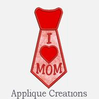 I Heart Mom Tie...Embroidery Applique by ACEmbroidery on Etsy, $3.50