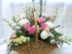 Beautiful Floral Basket Arrangement Ideas for A Fresh Dose of Colors Basket Flower Arrangements, Funeral Flower Arrangements, Altar Flowers, Church Flowers, Beautiful Flower Arrangements, Silk Flower Arrangements, Funeral Flowers, Beautiful Flowers, Simply Beautiful