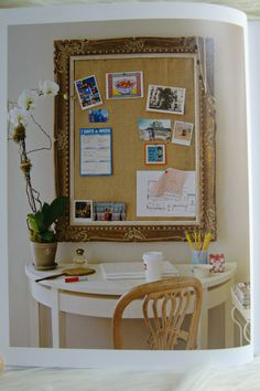 love this stylish desk area maximizing limited space, and doesn't every home need a gold framed pinboard?