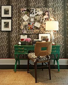 this home office is so unexpected, but warm and lovely. the leopard walls and pop of kelly green on the desk are subtly trendy