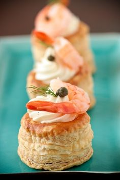 Vol-Au-Vent Pastries with Whipped Goat Cheese, Dill, Capers, and Shrimp.