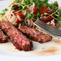 Chef John's recipe for Marsala wine-marinated skirt steak truly shines as delicious proof that skirt steak is always fabulous on the grill. Grilling Recipes, Beef Recipes, Salad Recipes, Cooking Recipes, Barbecue Recipes, Yummy Recipes, Chef John Recipes, Marinated Skirt Steak, Beef Flank