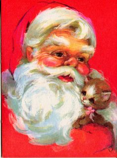 UNUSED Forget-Me-Not Vintage Christmas Card: Santa Claus with a Kitten