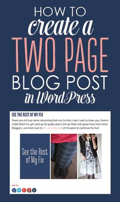How to crate a two-page blog post in WordPress