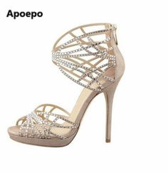 5f3c4e35aef9 Apoepo Women graceful turquoise beige color crystal high heel sandals  butterfly cut-outs bling bling rhinestone wedding shoes