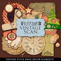 Far Far Hill - Free database of digital illustrations and papers: New Freebies Kit of Vintage Style XMAS Decor
