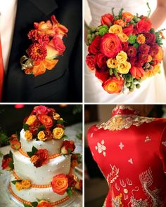 red and orange wedding - bouquet with red dresses- centerpieces