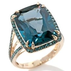 13.77ct London Blue Topaz and Blue Diamond 10K Ring by Sam & Sadie