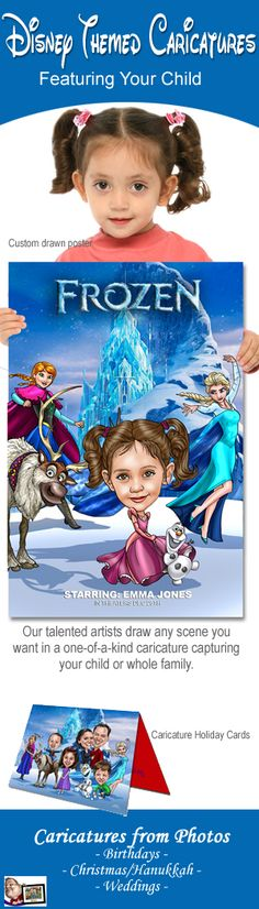Perfect gift for the holidays!  Your child becomes part of Disney's Frozen in an unforgettable poster keepsake.  Fully custom Disney gift.