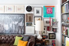 """""""I hung all my art pieces in a salon style, as I had so many. Instead of moving the furniture seasonally, I curate my art pieces."""""""
