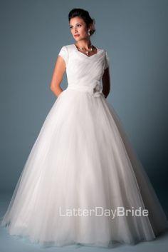 Modest Wedding Dress, Francille | LatterDayBride & Prom. Modest Mormon LDS Temple Dress