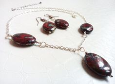 Womens jewelry set 'Lise' Matching earrings and necklace Red Czech glass beads