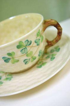 "1926 - 1946 ""Belleek"" Low Teacup and Saucer - Ireland Erin Go Braugh, Irish Pottery, Belleek China, Irish Cottage, Irish Blessing, Irish Celtic, Irish Eyes, Irish Recipes, Luck Of The Irish"
