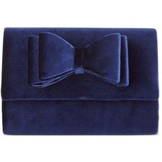 Inc International Concepts Leesie Velvet Clutch, found on Polyvore featuring bags, handbags, clutches, navy, velvet purses, bow handbags, navy purse, velvet clutches and velvet handbag