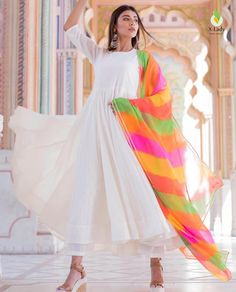 Excited to share this item from my #etsy shop: VeroniQ Trends- White Anarkali dress with Lehriya Pattern Dupatta #clothing #women #dress #rainbow #white #solid #formalevent #boat #34sleeve
