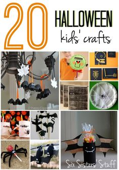 20 Easy, Cute Halloween Crafts for Kids!  Perfect to make at home or at a party! | SixSistersStuff.com