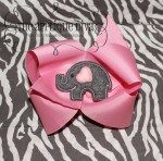 Love Elephant Hair Bow Center Applique Design-Applique, Bow Center, elephant, girl, valentine