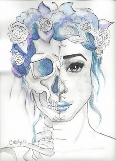Floral Skull Watercolor This is my version of someone else's painting. I only take credit for the execution, not the original idea.