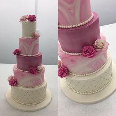 #ninascakeybakies fushia pink and ivory wedding cake. #celebration #cake #wedding #weddings #weddingcake #weddingcakesideas #weddingcakesdevon #bride #pink #flowers #marblecake #marble #bling #diamond #diamante #pearls #cakedecorating #bespoke #luptonhouse #5tiersweddingcake Wedding Day Wedding Planner Your Big Day Weddings Wedding Dresses Wedding bells