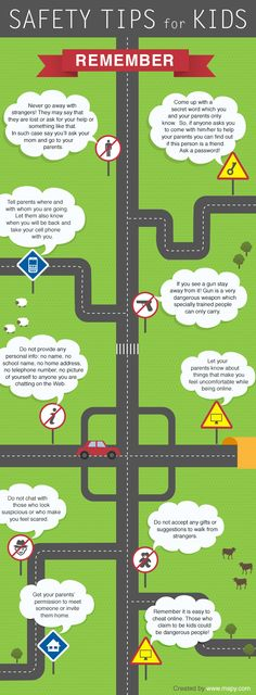 """""""Stranger danger,"""" isn't enough to keep our kids safe. This infographic is a good place to start with children to teach safety strategies both online and in the real world."""