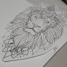 """Gefällt 77 Mal, 3 Kommentare - Sebastian Schillack (@dtown_undead) auf Instagram: """"More lions in progress... #liontattoo #liontattoo #mandalaanimal #mandalalion #liontattoodesign…"""""""