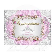 Quinceanera 15th Pretty Pink Gold Tiara Floral Party Invitation $2.70