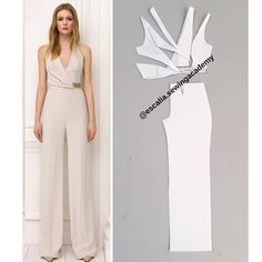 """To do Add long sleeves patternDrafting tutorial 💃🏽 So in this tutorial i show you how to draft the elegant jumpsuit in the picture. It so so easy, as you can…"""" Fashion Sewing, Diy Fashion, Ideias Fashion, Fashion Dresses, Dress Sewing Patterns, Blouse Patterns, Clothing Patterns, Jumpsuit Pattern, Pants Pattern"""