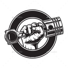 Buy Vintage Monochrome Motorcycle Label by imogi on GraphicRiver. Vintage monochrome motorcycle label with hand holding engine piston in circle isolated vector illustration Motorcycle Decals, Motorcycle Logo, Motorcycle Workshop, Motorcycle Tattoos, Motorcycle Engine, Garage Logo, Garage Art, Logo Moto, Car Logos With Names