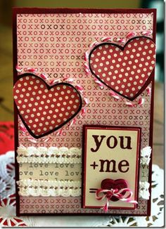 Try different textures and thread to create a stunning make, like this one. Valentine Love Cards, Valentines, Valentine Ideas, Wedding Mini Album, Wedding Cards, Spinner Card, Mod Podge Crafts, Romantic Cards, Heart Cards