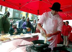 Eric Powe gives a cooking demonstration on making fried fish po'boys, one of the soul food items offered at the Black Cuisine Festival in the Bayview district in San Francisco, Calif. on Saturday, March 4, 2017. Photo: Paul Chinn, The Chronicle