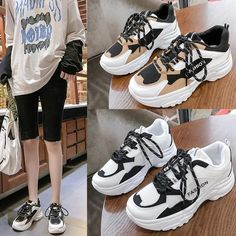 Women's Casual Shoes White Fashion Thick Chunky Sneakers | Touchy Style Jeans And Sneakers Outfit, Girls Sneakers, Casual Sneakers, Casual Shoes, Women's Casual, Chunky Sneakers, Black Sneakers, Shoes Sneakers, Sneaker Heels