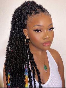 Box Braids Hairstyles For Black Women, Faux Locs Hairstyles, Black Girl Braids, Baddie Hairstyles, Braids For Black Hair, Girl Hairstyles, Natural Braided Hairstyles, Protective Hairstyles For Natural Hair, Curly Hair Styles