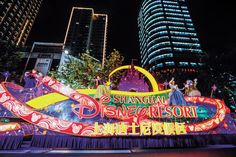Shanghai Disneyland coming soon.  The Disney-themed float shows up in the grand float parade in Shanghai to kick off a series of events for the tourism festival.