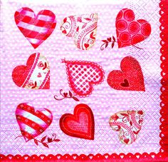 4 Single Vintage Table Paper Napkins, Lunch, for Decoupage, Hearts 4, Decopatch