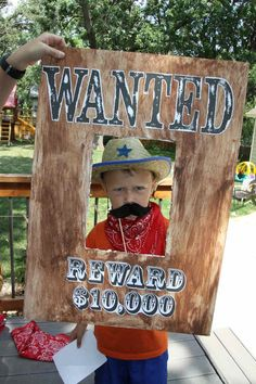 cowboy themed terrible twos western second birthday party for two boys wanted reward photo booth prop