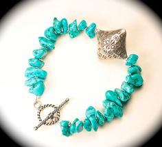 All natural turquoise bracelet w/sterling.