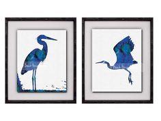 Blue Heron Wall Art Navy Nautical Set of 2 by BeachHouseGallery