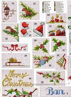 Embroidery, works and hundreds of cross-stitch patterns of all types, free: Small and easy cross-stitch patterns dedicated to Christmas