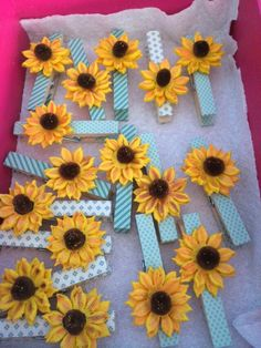 Frozen fever sunflower goodie bag clips and or favors Handmade clothespins