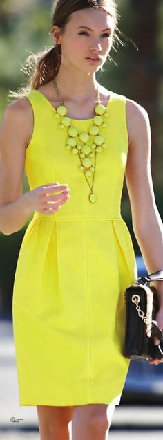 Fashion ● On The Street yellow dress closet ideas women fashion outfit clothing style Neon Dresses, Fashion Dresses, Summer Dresses, Moderne Outfits, J Crew Dress, Yellow Fashion, Yellow Dress, Bright Dress, Daisy Dress