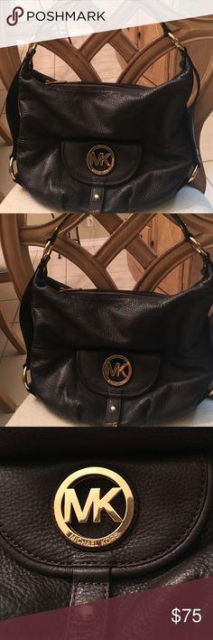 Michael Kors brown leather handbag Price Firm. Pre loved Mi Gael Kors handbag. Love the MK gold hardware Michael Kors Bags Shoulder Bags