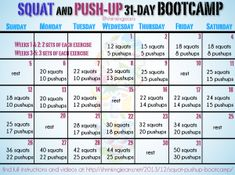 Squat and Push Up challenge.  This page has links to many other monthly calendar challenges.