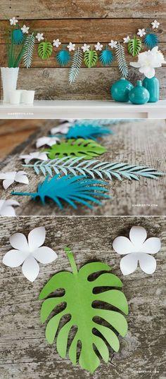 Luau Party Ideas - Tropical Leaf Paper Garland - http://www.LiaGriffith.com