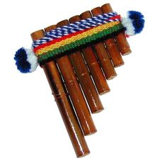 Pan pipes (also known as the panflute or the syrinx or quills) is an ancient musical instrument based on the principle of the stopped pipe, consisting usually of ten or more pipes of gradually increasing length. The syrinx (Greek συριγξ) has long been popular as a folk instrument, and is considered the ancestor of both the pipe organ and the harmonica, or mouth organ. The panpipes are named for their association with the rustic Greek god Pan.
