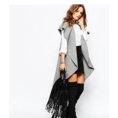 New ASOS gray oversized shawl jacket cardigan L Gorgeous gray vest size large from ASOS. ASOS Jackets & Coats Vests