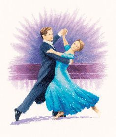 Viennese Waltz - cross stitch kit by John Clayton - Elegant dancers with the lady in a swirling blue gown and her partner in an evening suit. Just Cross Stitch, Counted Cross Stitch Kits, Cross Stitch Charts, Cross Stitch Embroidery, Cross Stitch Patterns, Cross Stitching, John Clayton, Heritage Crafts, Partner Dance