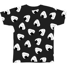 ONIGIRI TEE (275 EGP) ❤ liked on Polyvore featuring tops, t-shirts, shirts, black, tee-shirt and t shirts