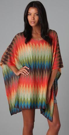 Obsessed with the colors and print of this poncho!